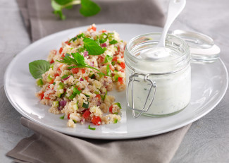 Vegetable couscous with minted yogurt sauce