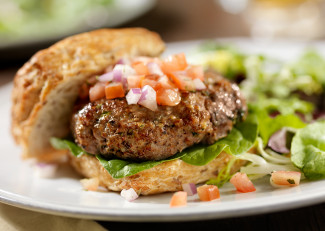 Burgers with diced vegetables