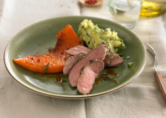 Lamb fillet with sliced pumpkin and courgette puree