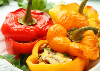 Peppers stuffed with mushrooms and goats cheese